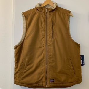 Dickies Faux fur Lined Sleeveless Brown Vest XL